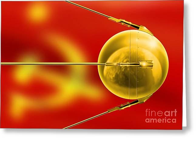 Sputnik Greeting Cards - Sputnik 1, Artwork Greeting Card by Detlev van Ravenswaay