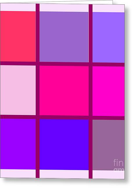 Repetition Paintings Greeting Cards - Squares - Pink Greeting Card by Celestial Images