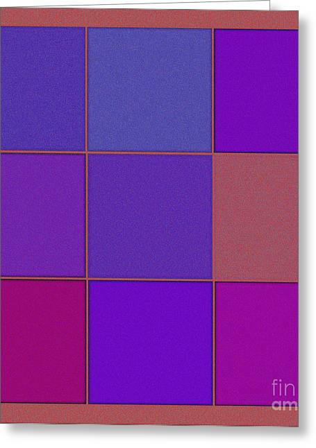 Repetition Mixed Media Greeting Cards - Squares - Purple Greeting Card by Celestial Images