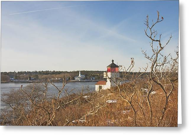 Coastal Maine Greeting Cards - Squirrel Point Lighthouse Kennebec River Maine Greeting Card by Keith Webber Jr