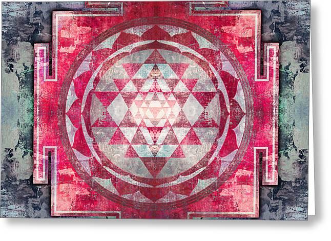 Sacred Digital Greeting Cards - Sri Yantra Greeting Card by Filippo B