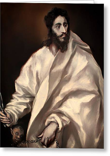 Religious Artwork Paintings Greeting Cards - St Bartholomew  Greeting Card by El Greco