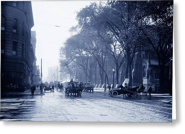 St.catherine Street Greeting Cards - St Catherine Street - Montreal 1910 Greeting Card by Mountain Dreams