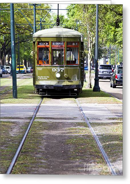 St Charles Avenue Greeting Cards - St Charles Avenue Trolley Train rolling through the Garden Distr Greeting Card by ELITE IMAGE photography By Chad McDermott