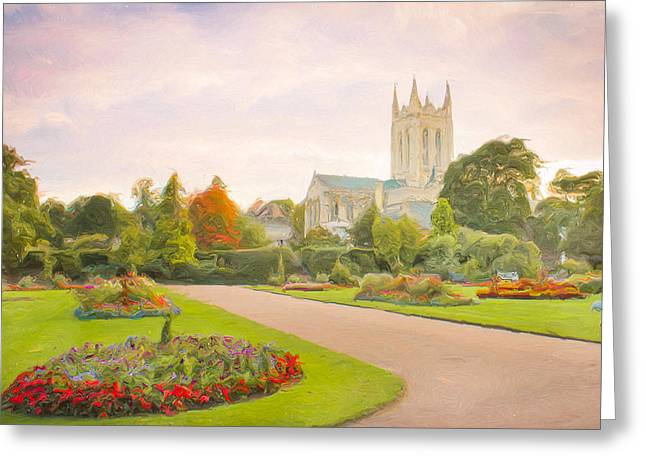 Garden Scene Photographs Greeting Cards - St Edmundsbury Cathedral Greeting Card by Tom Gowanlock