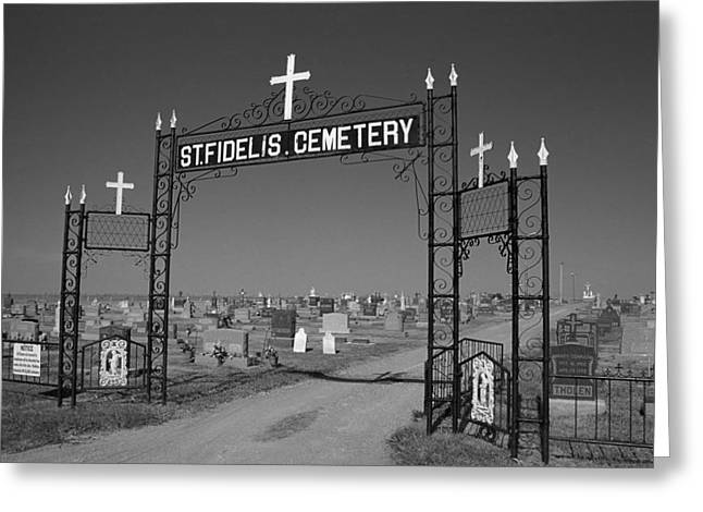Black Cemetery Greeting Cards - St. Fidelis Cemetery Victoria Kansas Greeting Card by Frank Romeo