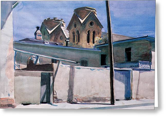 Religious Art Photographs Greeting Cards - St Francis Towers Santa Fe Greeting Card by Edward Hopper