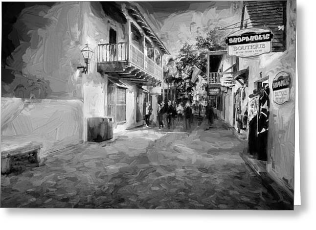 Wooden Shutter Greeting Cards - St George Street St Augustine Florida Painted BW Greeting Card by Rich Franco