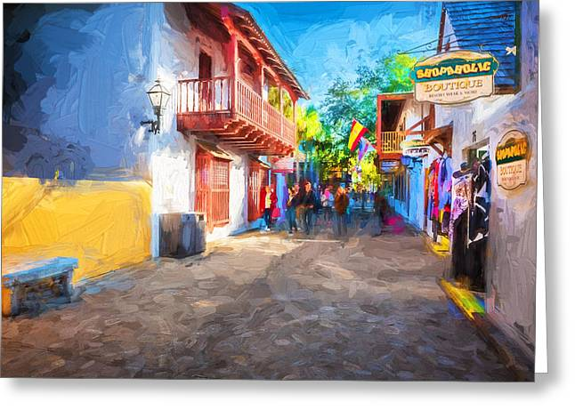 Historic Home Greeting Cards - St George Street St Augustine Florida Painted Greeting Card by Rich Franco