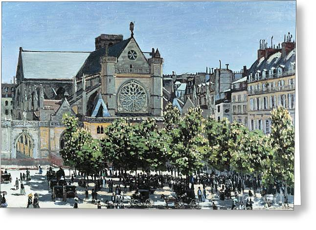 Vintage Painter Greeting Cards - St. Germain lAuxerrois Greeting Card by Claude Monet