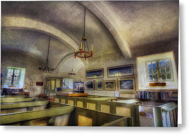 Candle Lit Greeting Cards - St Julittas Church Greeting Card by Ian Mitchell