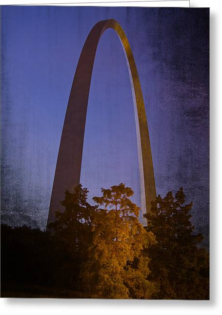 Arches Memorial Photography Greeting Cards - St Louis Arch at Night Greeting Card by Garry McMichael