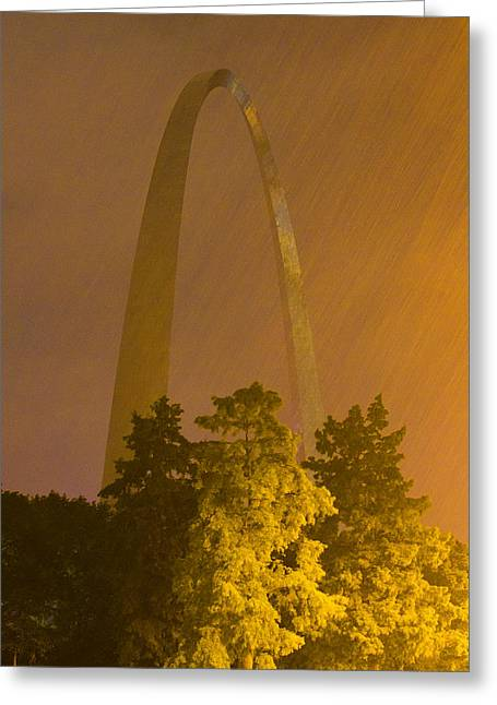 Arches Memorial Photography Greeting Cards - St Louis Arch in the rain Greeting Card by Garry McMichael