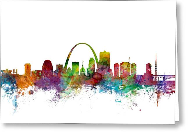 St Louis Missouri Greeting Cards - St Louis Missouri Skyline Greeting Card by Michael Tompsett
