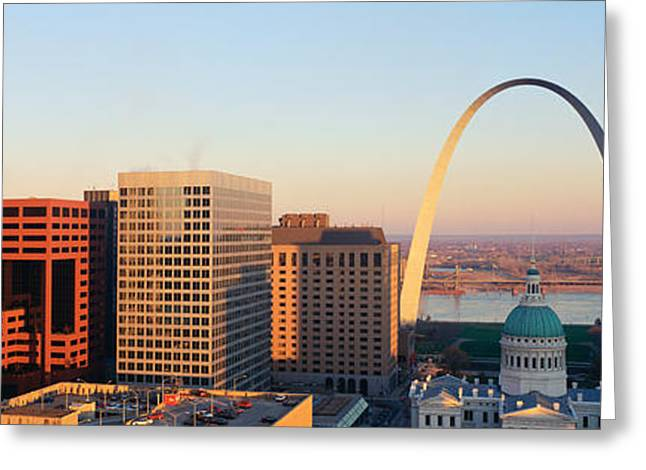 Skyline Arch Greeting Cards - St. Louis Skyline Greeting Card by Panoramic Images