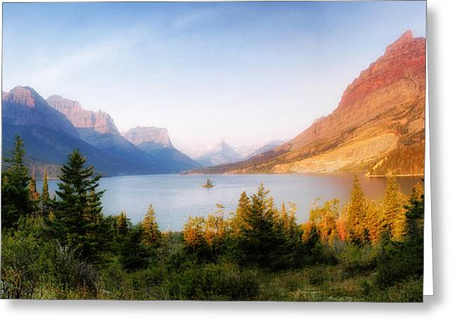 St. Mary Greeting Cards - St Mary Lake Greeting Card by Wade Aiken
