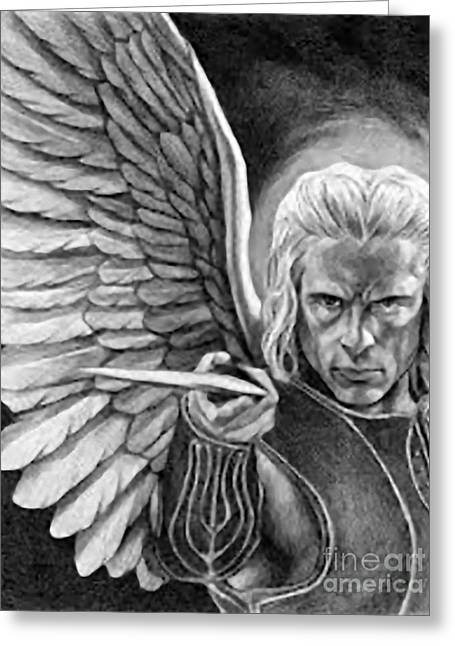 Archangel Drawings Greeting Cards - St. Michael Archangel Greeting Card by Matteo TOTARO