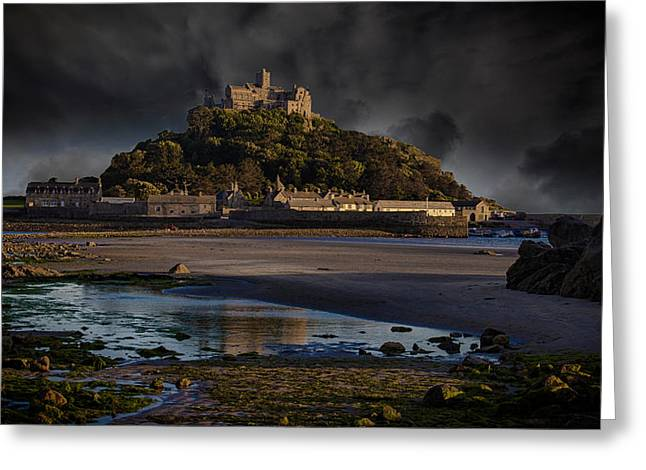 Stormy Clouds Greeting Cards - St Michaels Mount Cornwall Greeting Card by Martin Newman