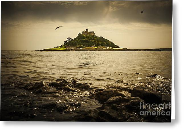 Bird Scape Greeting Cards - St Michaels Mount Greeting Card by Svetlana Sewell