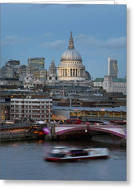 St. Paul_s Cathedral And Blackfriars_ Greeting Card by Charles Bowman