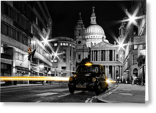 Hackney Greeting Cards - St pauls with Black Cab Greeting Card by Ian Hufton