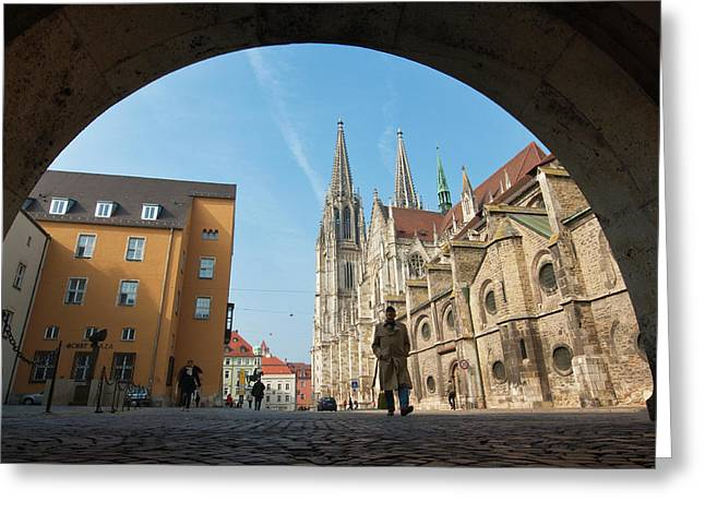 St Peter's Cathedral In Regensburg Greeting Card by Michael Defreitas