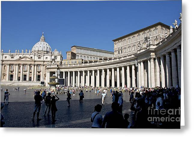 Sight Seeing Greeting Cards - St Peters Square. Vatican City. Rome. Lazio. Italy. Europe Greeting Card by Bernard Jaubert
