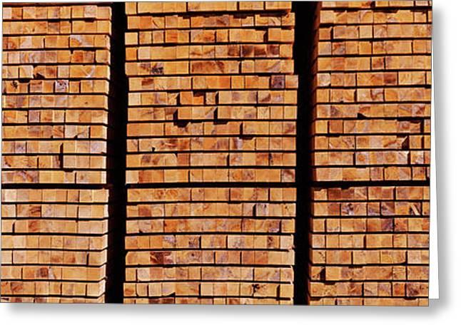 Stack Of Lumber At Sawmill, Eureka Greeting Card by Panoramic Images