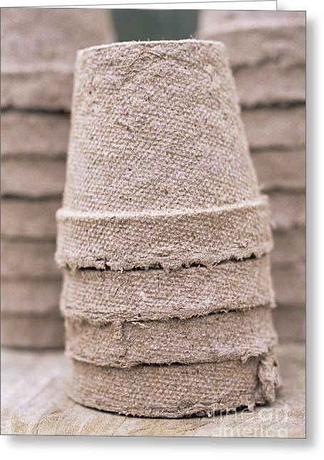 Potting Table Greeting Cards - Stacked Peat Pots Greeting Card by Maxine Adcock