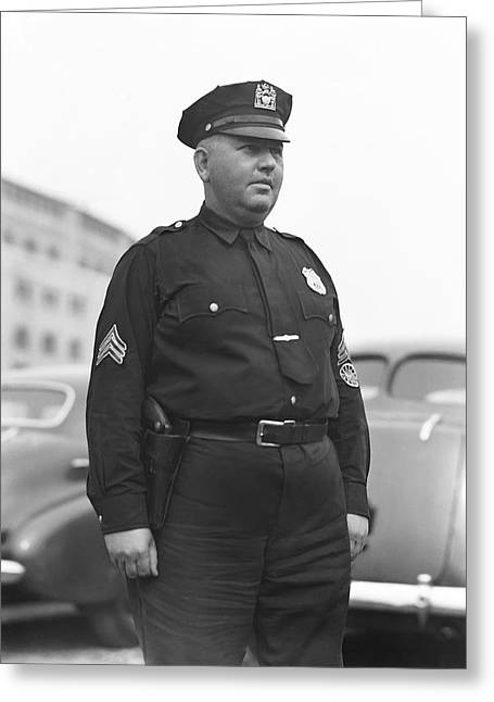 New York Cops Greeting Cards - Stadium Cop at Yankees Stadium Greeting Card by Retro Images Archive