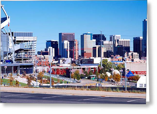 Mile Road Greeting Cards - Stadium In A City, Sports Authority Greeting Card by Panoramic Images