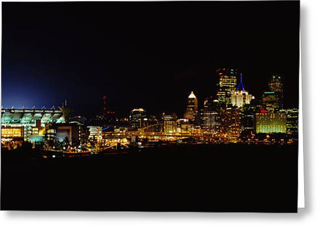 Allegheny River Greeting Cards - Stadium Lit Up At Night In A City Greeting Card by Panoramic Images