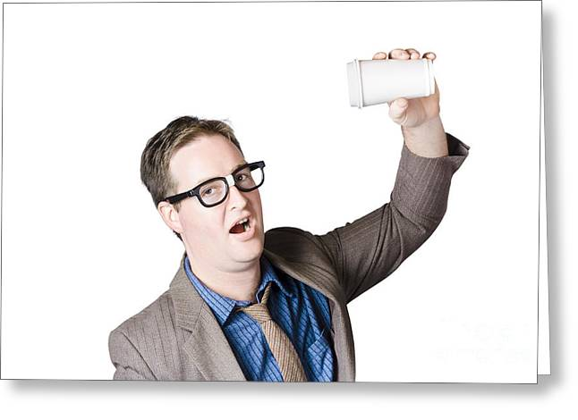 Coffee Drinking Greeting Cards - Staff member swigging coffee beverage. Quick drink Greeting Card by Ryan Jorgensen
