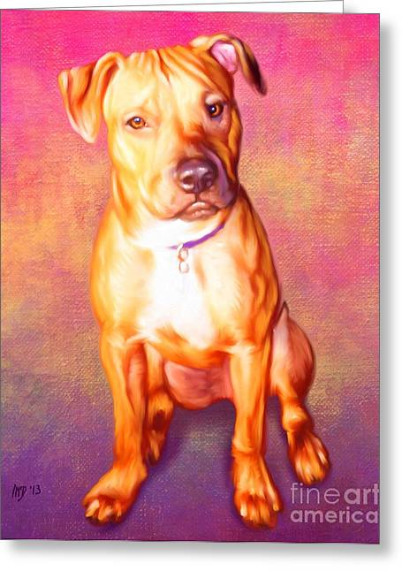 Staffie Greeting Cards - Staffie Pet Portrait Greeting Card by Iain McDonald