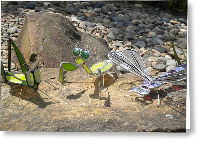 Dragonflies Glass Art Greeting Cards - Stained Glass Critters by Michelle Lodge Greeting Card by Studio One Seventy Two