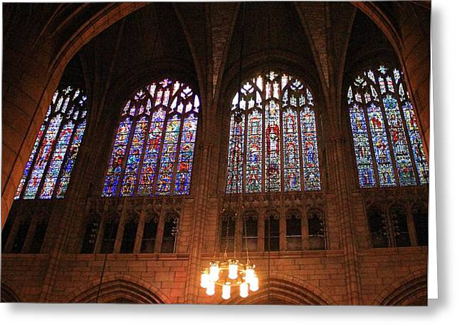 Forgiven Greeting Cards - Stained Glass In New York City Greeting Card by Dan Sproul