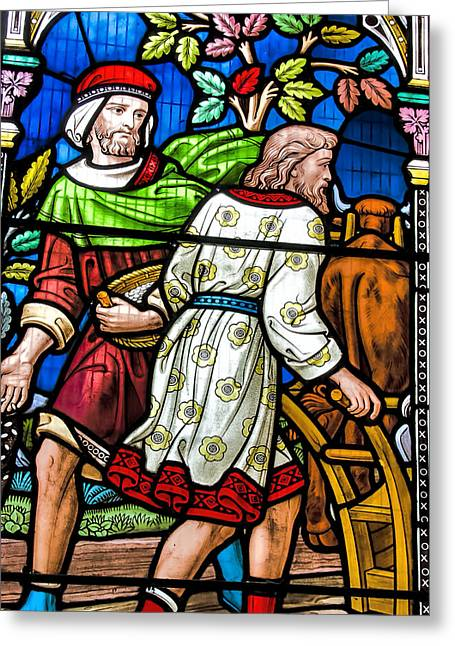 The Church Greeting Cards - Stained Glass Panel Greeting Card by Trevor Kersley