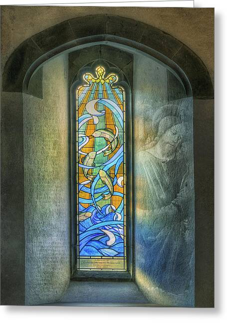 Bible Digital Greeting Cards - Stained Glass Window Art Greeting Card by Ian Mitchell