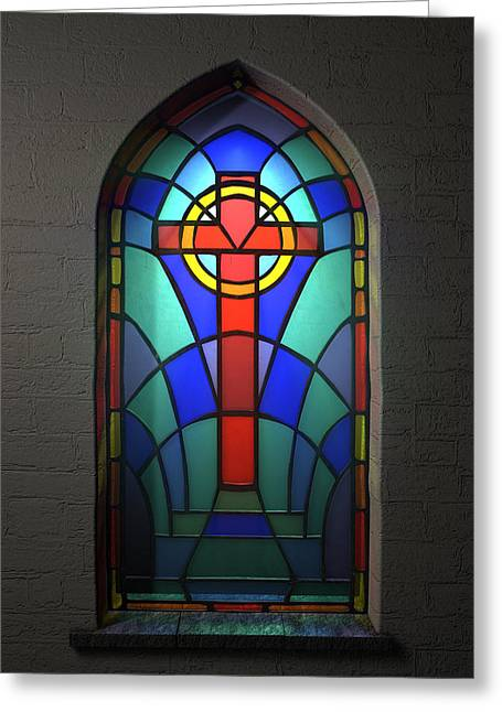 Glass Wall Greeting Cards - Stained Glass Window Crucifix Greeting Card by Allan Swart