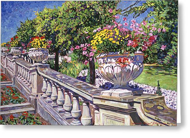 Gardenscapes Greeting Cards - Stairway Of Urns Greeting Card by David Lloyd Glover