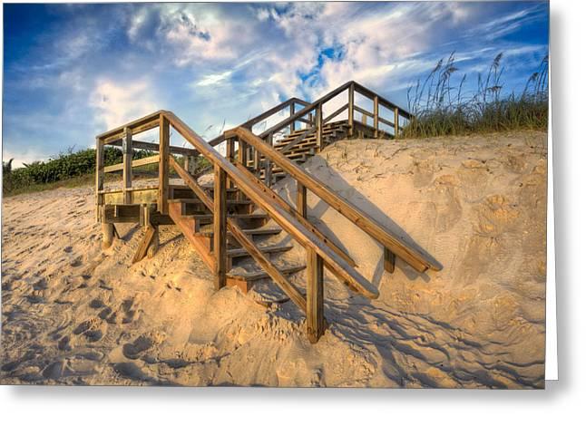 Wooden Stairs Greeting Cards - Stairway to Heaven Greeting Card by Debra and Dave Vanderlaan