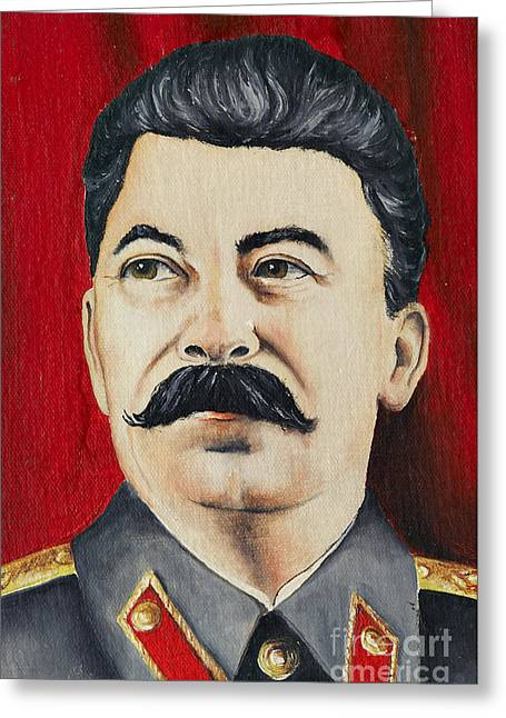 Tyrant Greeting Cards - Stalin Greeting Card by Michal Boubin