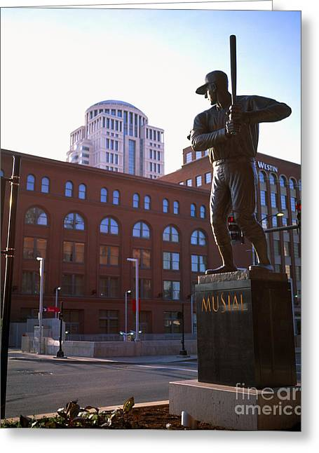 Stan Musial Greeting Cards - Stan Musial Statue Greeting Card by Tracy Knauer
