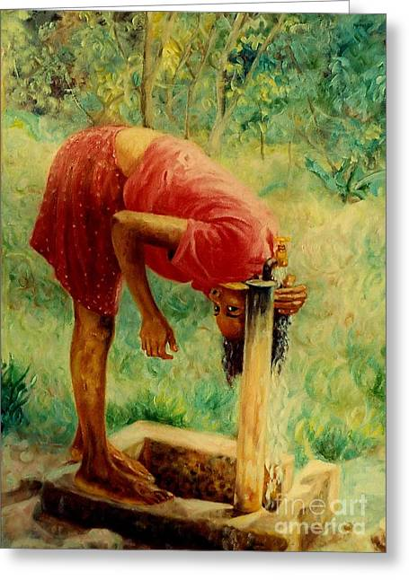 Hair-washing Paintings Greeting Cards - Stand Pipe Greeting Card by Ewan  McAnuff