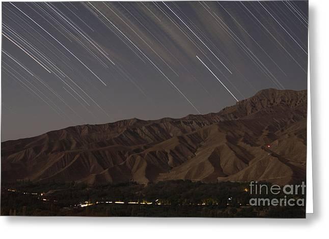 Tehran Greeting Cards - Star Trails Above A Valley Greeting Card by Amin Jamshidi