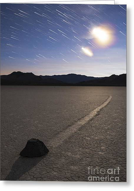 Dry Lake Greeting Cards - Star Trails At The Racetrack Playa Greeting Card by Dan Barr