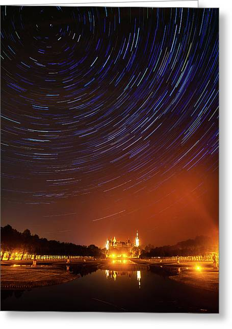 Star Trails Over Schwerin Palace Greeting Card by Babak Tafreshi