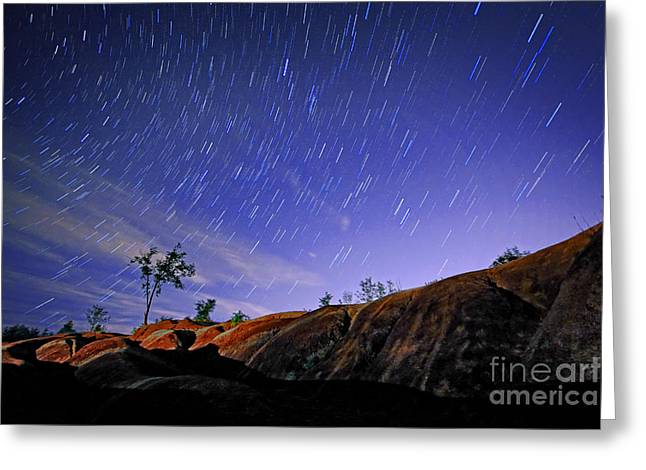 Startrails Greeting Cards - Star Trails Over Badlands Greeting Card by Charline Xia