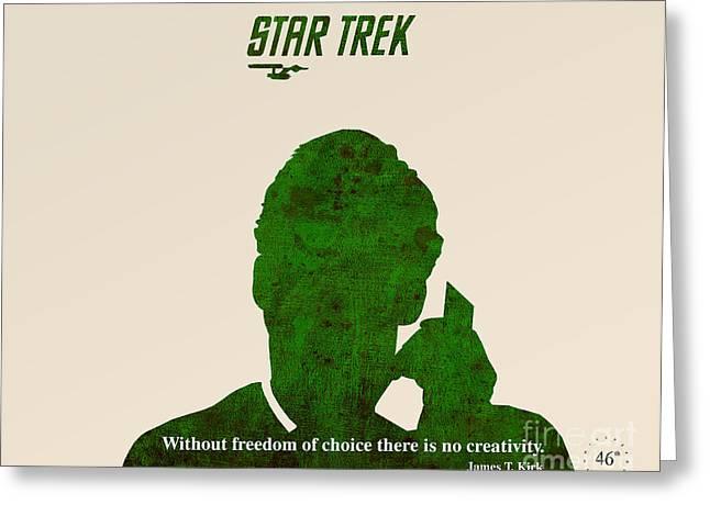Enterprise Greeting Cards - Star Trek Original - Kirk Quote Greeting Card by Pablo Franchi