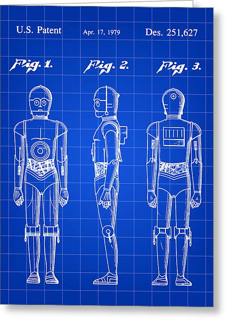 Galactic Empire Greeting Cards - Star Wars C-3PO Patent 1979 - Blue Greeting Card by Stephen Younts